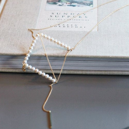 MissQueeny geometric series · Square / Natural pearl necklace long chain