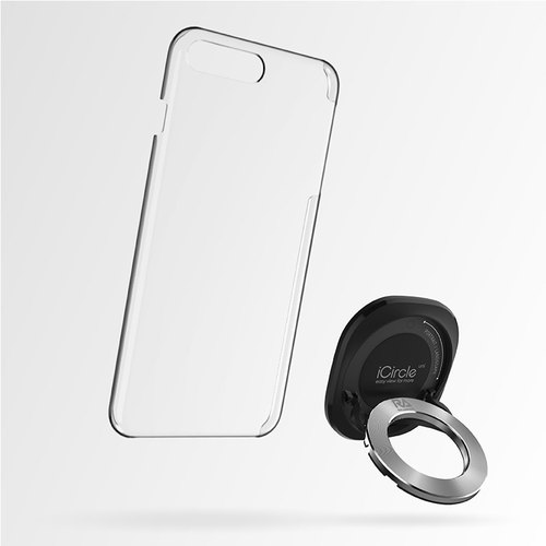 [Rolling Ave.] iCircle Uni iPhone 7 plus Multi-Function Stand Cover - Black Silver Ring