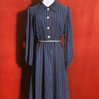 Totem Plaid Long Sleeve Vintage Dress / Foreign Return to VINTAGE