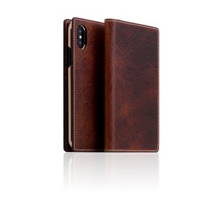 SLG Design iPhone X D7 IWL Wax Replica Premium Leather Side Leather Case - Brown