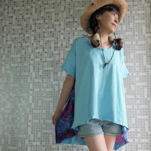 Blue clip fabric cotton T-shirt