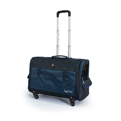 Anqi Circle 8kg Pet Four Wheel Trolley Case Scotland Pattern