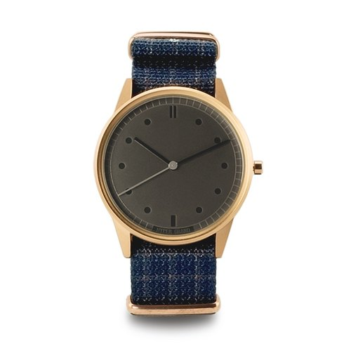 HYPERGRAND - 01 Basic models - GOVERNOR Royal dark blue checkered watch [engraved limited edition] - rose gold