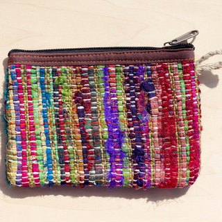 Limit a hand-woven wallet / storage bag / cosmetic bag / debris bag - cloth braid + hand twist yarn