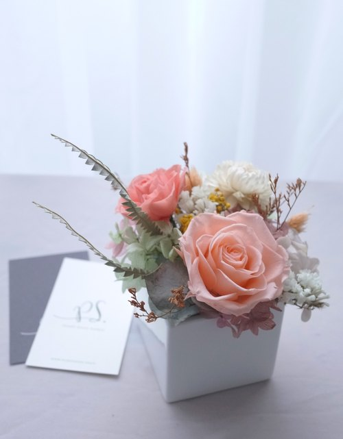 PlantSense classic ~ coral pink rose / hydrangea flower immortal flowers do not wither + white porcelain flower ~ with fine gift box
