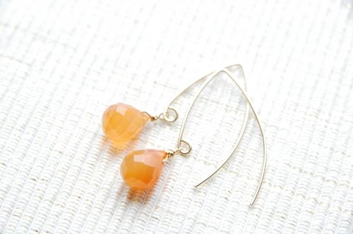 Agate of Marquis hook earrings (14 gold gf)