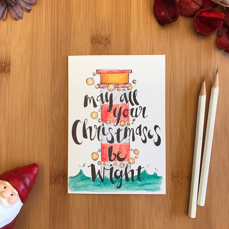 Wright CHRISTMAS LIGHTHOUSE Christmas card hand-painted illustration ...