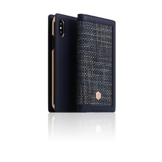 SLG Design iPhone Xs / X D5 CSL Canvas Blend Wind Side Leather Leather Case - Blue