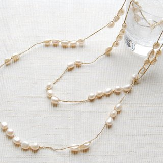 Freshwater pearl crochet necklace white
