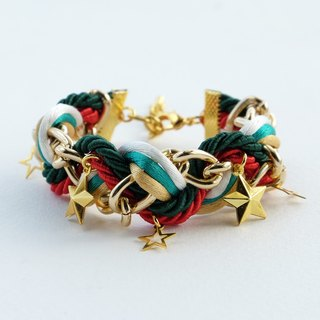 Christmas gift collection , Red/Green/White/Gold braided bracelet with chain and stars