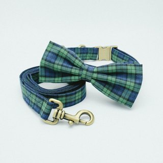 Bowtie Collar with Leash - Plaid Collection Navy / Green.