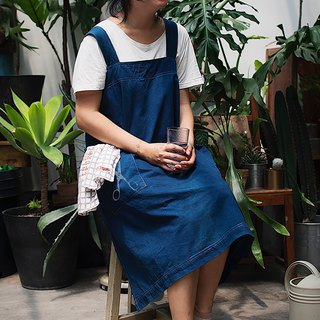 【Fasti Age】 Blue Cotton Apron Work Apron Diffuse - Scissors