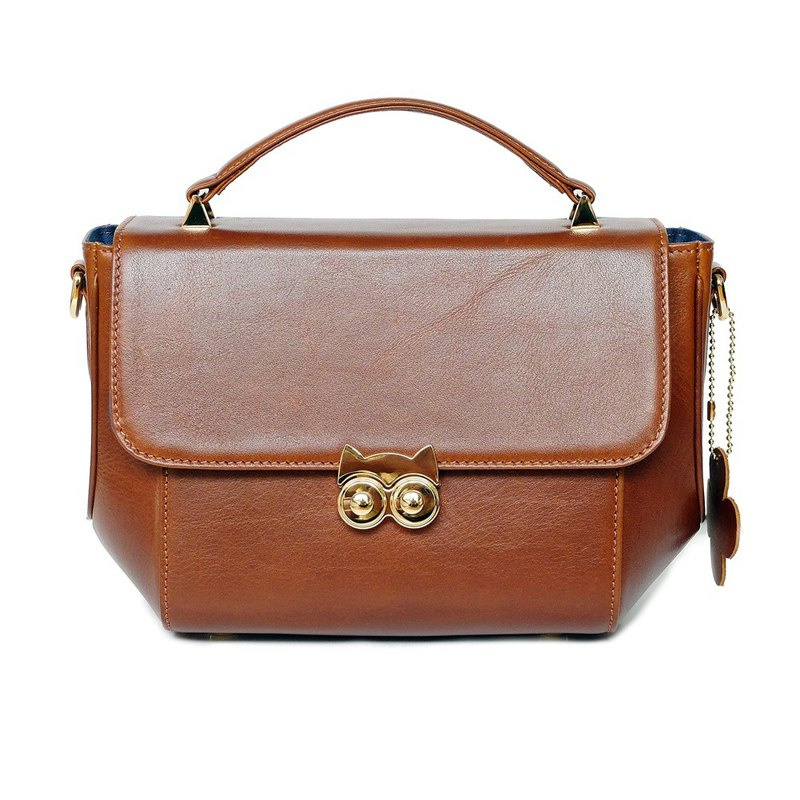 Owl an attractive lady handbag chestnut color