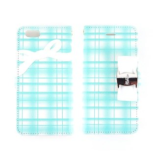 Checkered ribbon with big buckle ribbon Pattern notebook type smart case