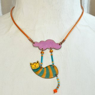 Enamel Pendant, Cat Pendant, Cat Necklace, Enamel Necklace, Boho Necklace, Cloud And Cat, Enameled Pendant, Striped Jewelry, Enamel Jewelry, Purple Cloud,