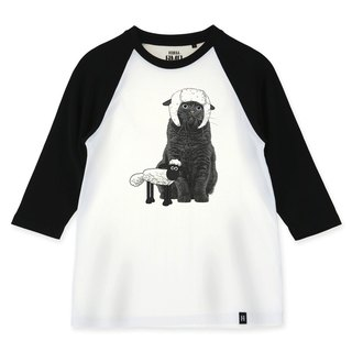 AMO®Original canned cotton adult 3/4 raglan T-shirt/AKE/Sheep Cat