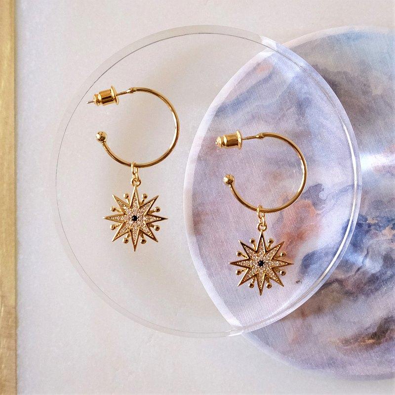 ALYSSA & JAMES  八角星藍色鋯石耳環  925銀針
