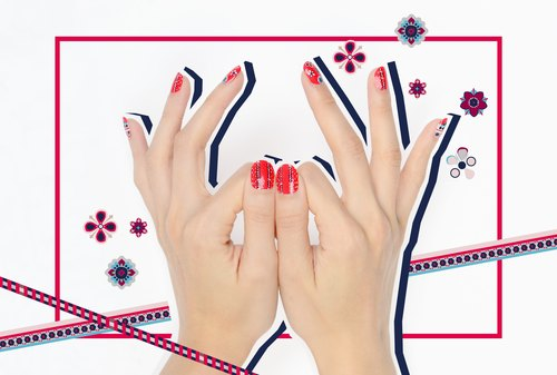 Festival Bandana Nail Wraps Designer Nail Stickers 22pcs