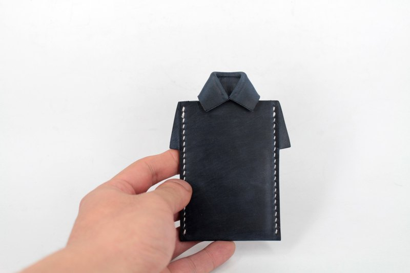MOOS X WASOME ORIGAMI Vegetable tanned leather hand-sewn ID card holder (dark blue)
