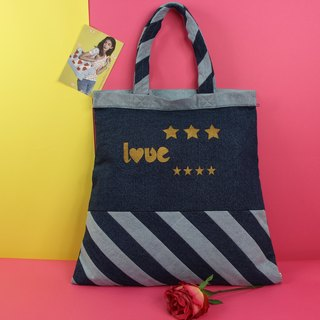 Love of Change Denim Tote Bag