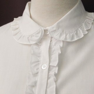 Vintage European Cute Lace Lapel White Long Sleeve Cotton Vintage Shirt Vintage Blouse