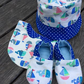 Whale and Sail Boat Moon Gift Set - Hats + Bibs + Shoes