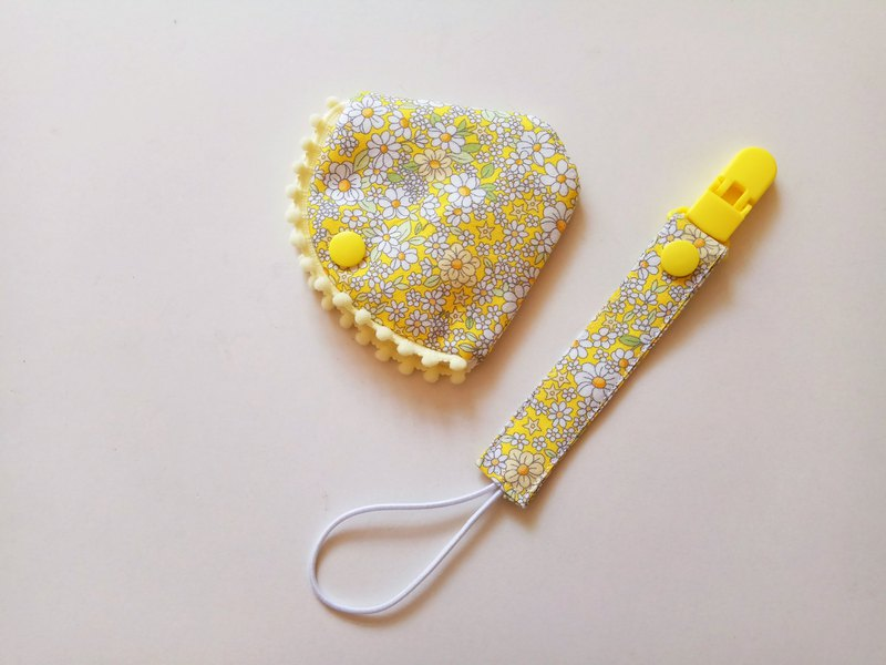 Yellow flower small cotton ball combined with a pacifier clip < nipple dust cover + nipple clip> pacifier cover