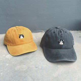 Cat embroidery cap / color> vintage dark gray, vintage yellow mustard