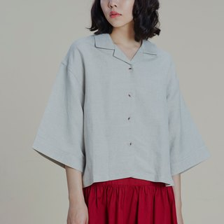 Shan Yong grey national collar linen shirt top