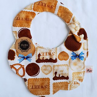 Biscuits - Beige - thick cotton & six-layer gauze with a circular arc shape bib. Saliva towel. 100% cotton