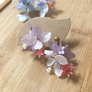 TING Two-color purple hydrangea (red flower) --- Dry flower earrings without edging earrings ear clips