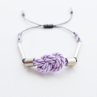 Infinity knot twisted rope in lilac adjustable bracelet