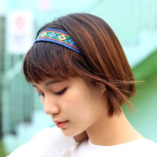 【The MAMA's Closet】Rhombus(Green) / Denim with Ribbon Headband