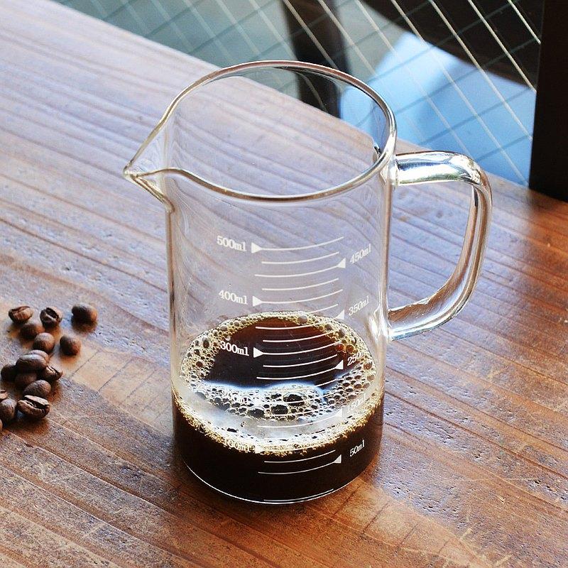 悶蒸十五附刻度耐熱玻璃咖啡公杯量壺-500ml