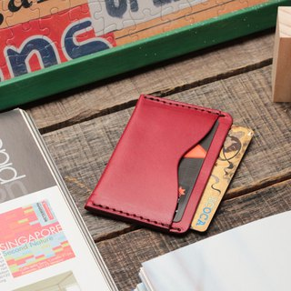 Retro New York red dipped yak leather manual ticket holder