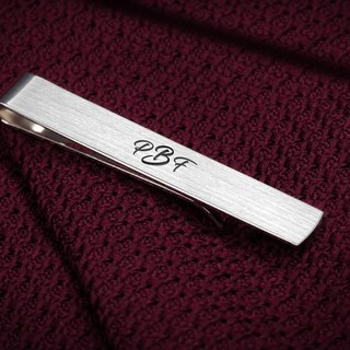 Monogram Tie Clip - Wedding Tie Clip engraved - Groom tie clip personalized