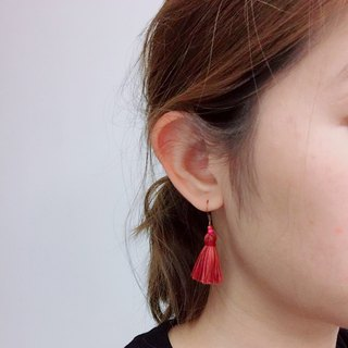 Red blend classic tassel earring ear hook ear clip
