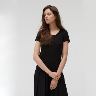 Copper ammonia comfortable round neck Tee - black