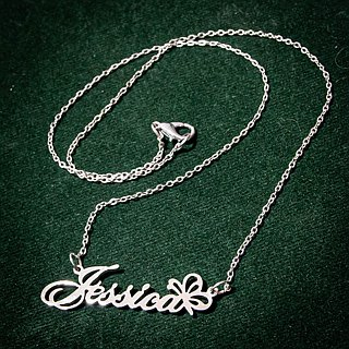 Custom name necklace hand writing font style with butterfly