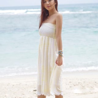 Shell embroidery tie die beach dress <Yellow>