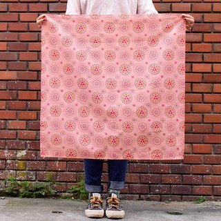 Furoshiki Wrapping Cloth - 70x70 / Crested Myna No.5 / Pink Peach, Blue, Red
