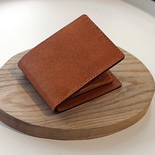 Italian handmade vegetable tanned leather simple six card short clip