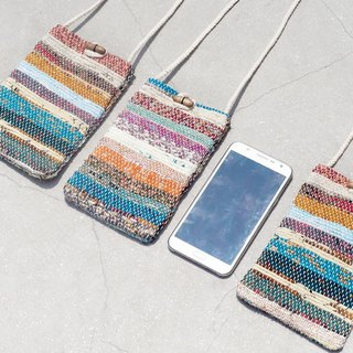 Valentine's Day gift Mother's Day gift girlfriends gifts Christmas handmade limited edition natural woven sari mobile phone bag / mobile phone sets / shoulder bag / bag / travel card sets / traveling bags - natural gradients earth color stripes