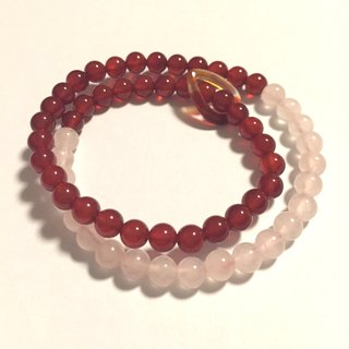 BR0276 - Natural Gem Double Bracelet / Bracelet - Design and Production - Natural Red Agate and Pink Crystal