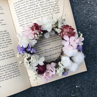 [Good] Cotton pink flower does not wither dried hydrangea wreath birthday gift Valentine's Day gift handmade Mother's Day wreath Opening (S)