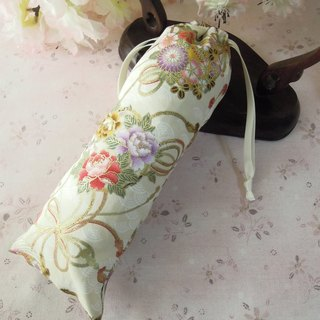 上云阁 beige crane pattern hand bag storage bag