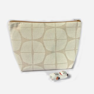 Canvas Zipper Pouch, Scandinavian Fun Stamp Prints, Large Makeup Bag - White