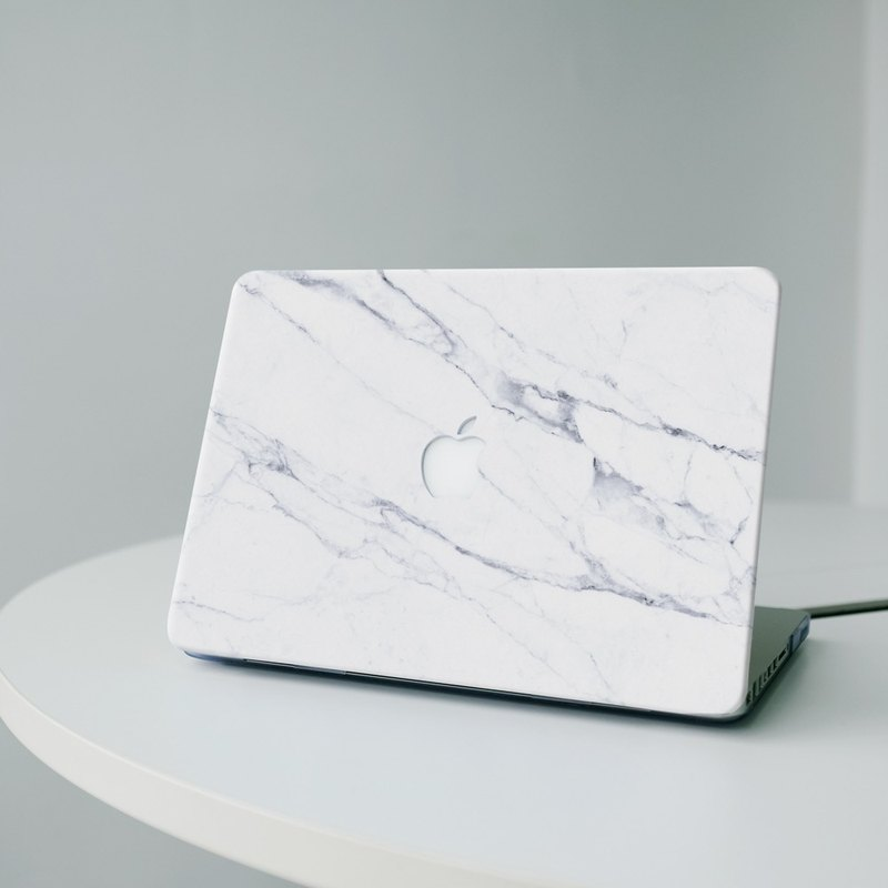 Original Snow White Real Marble Macbook case with hard shell back case