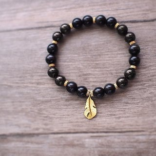 [New] rock crevice rainbow obsidian / natural stone brass beaded bracelet