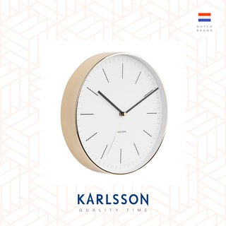 Karlsson 亮金框白色掛鐘 wall clock Minimal white w.shiny gold case